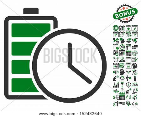 Battery Time pictograph with bonus calendar and time service pictures. Vector illustration style is flat iconic symbols, green and gray colors, white background.