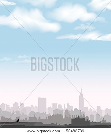 City panoramic skyline view. USA city scene architectural buildings and sky with clouds in the morning. Urban NYC cityscape.