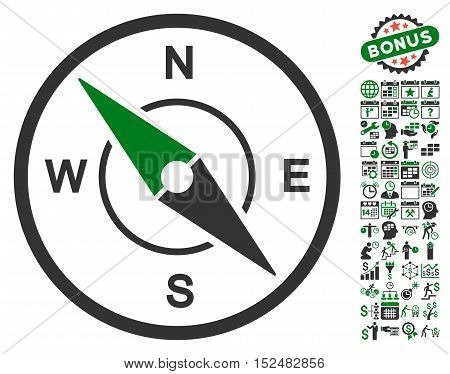 Compass pictograph with bonus calendar and time management design elements. Vector illustration style is flat iconic symbols, green and gray colors, white background.