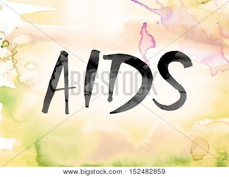 Aids Colorful Watercolor And Ink Word Art