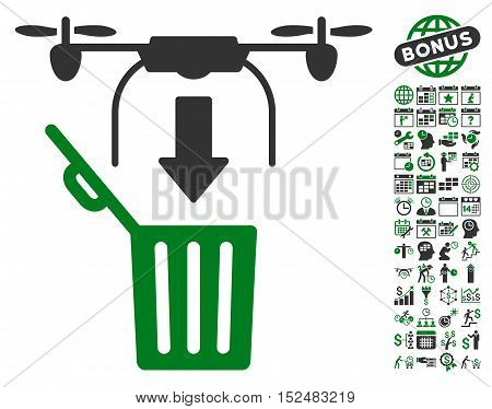 Drone Drop Trash pictograph with bonus calendar and time service icon set. Vector illustration style is flat iconic symbols, green and gray colors, white background.