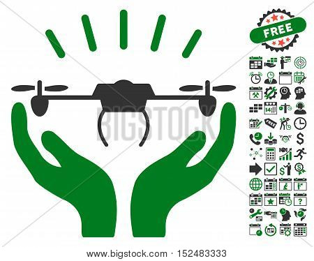Drone Launch Hands icon with bonus calendar and time management design elements. Vector illustration style is flat iconic symbols, green and gray colors, white background.