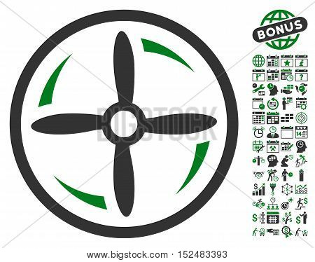 Drone Screw Rotation pictograph with bonus calendar and time service symbols. Vector illustration style is flat iconic symbols, green and gray colors, white background.