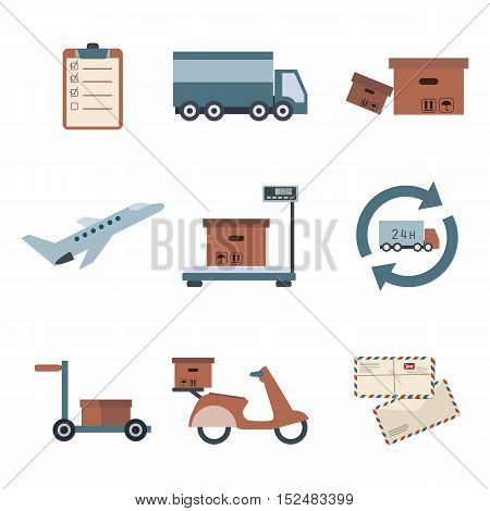 Delivery icons set shipping. Service collection. Vector eps10