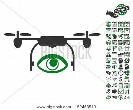 Eye Spy Drone pictograph with bonus calendar and time management pictograms. Vector illustration style is flat iconic symbols, green and gray colors, white background.