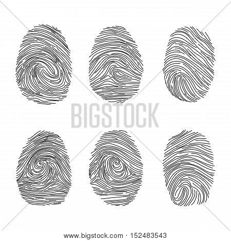 Set of fingerprints icons, id security identity. Vector illustration eps10
