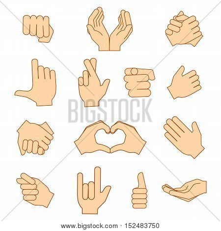 Empty hands holding protect giving gestures icons set isolated on white. Vector illustration eps10