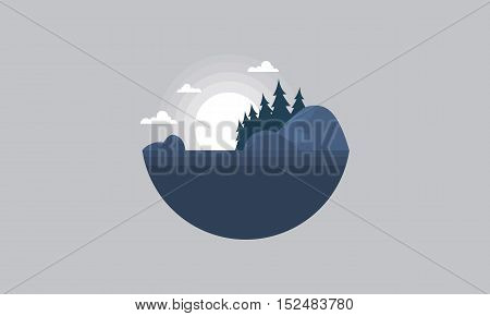 Silhouette of hill and tree scenery vector art