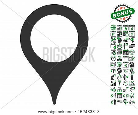 Map Pointer icon with bonus calendar and time service icon set. Vector illustration style is flat iconic symbols, green and gray colors, white background.