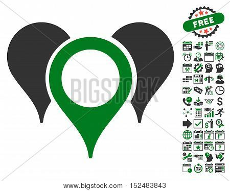 Map Pointers icon with bonus calendar and time service design elements. Vector illustration style is flat iconic symbols, green and gray colors, white background.