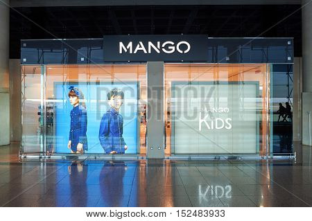 BARCELONA, SPAIN - CIRCA NOVEMBER, 2015: MANGO store at Barcelona Airport. MANGO is a clothing design and manufacturing company, founded in Barcelona, Catalonia.