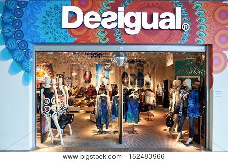 BARCELONA, SPAIN - CIRCA NOVEMBER, 2015: Desigual store at Barcelona Airport. Desigual is a clothing brand headquartered in Barcelona, Catalonia, Spain.