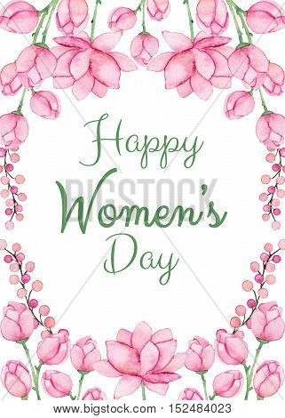 Greeting Card with Watercolor Light Pink Flowers and Words Happy Womens Day