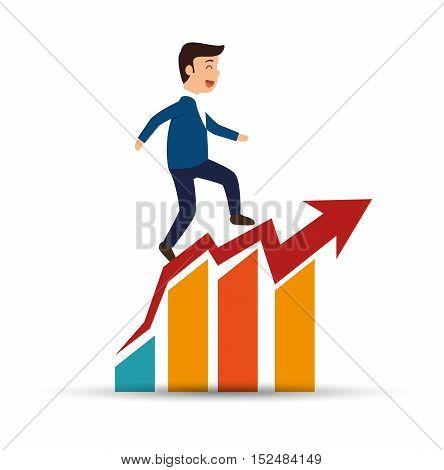 man business planning statistics success vector illustration eps 10