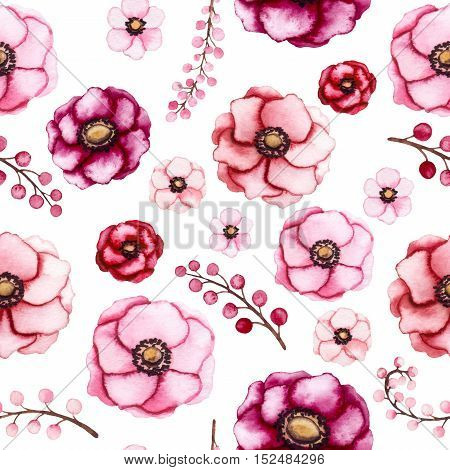 Watercolor Vivid Flowers and Little Light Pink Berries Seamless Pattern