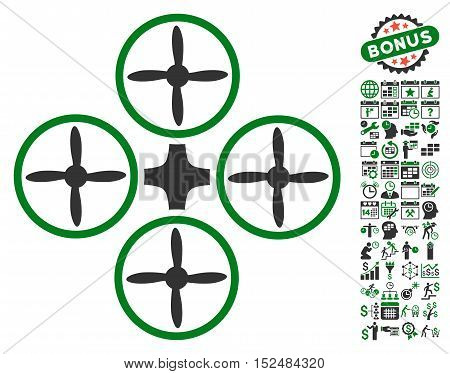 Quadcopter pictograph with bonus calendar and time service graphic icons. Vector illustration style is flat iconic symbols, green and gray colors, white background.