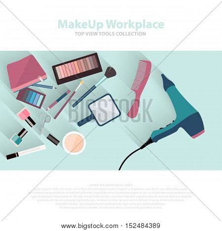 Beauty and makeup cosmetics pattern with make up artist objects lipstick, nail, perfumes, eye shadows, brushes, mascara. Workspace top view flat icons. Vector beauty background eps10.
