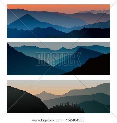 Mountains sunrise and mountains sunset horizontal banner. Travel mountain landscape. Vector illustration eps10