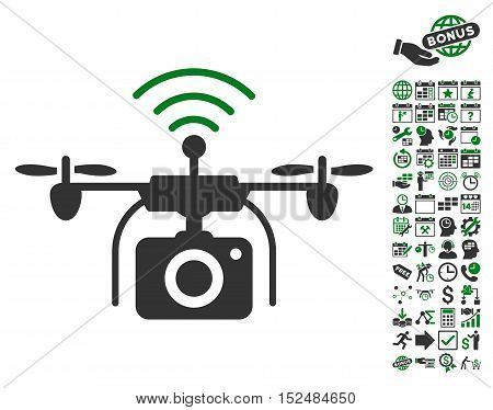 Radio Camera Drone icon with bonus calendar and time management icon set. Vector illustration style is flat iconic symbols, green and gray colors, white background.