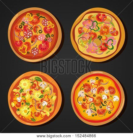 Homemade hot pizza icons set. Pizza isolated on white, pepperoni pizza. Vector EPS 10