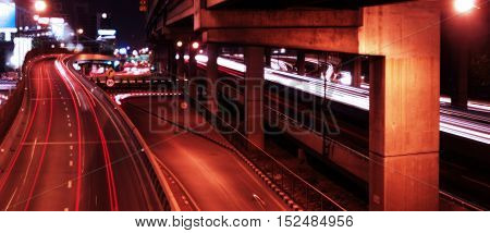 Blurred background of city traffic in Bangkok, Thailand
