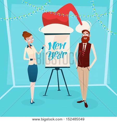 Business Woman And Man With Flip Chart Santa Hat New Year Celebration Flat Vector Illustration