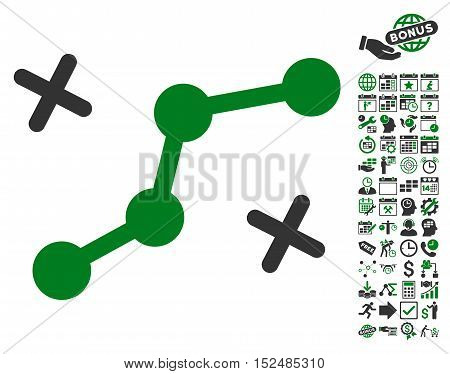 Route Points icon with bonus calendar and time service design elements. Vector illustration style is flat iconic symbols, green and gray colors, white background.