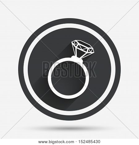 Ring sign icon. Jewelry with diamond symbol. Wedding or engagement day symbol. Circle flat button with shadow and border. Vector