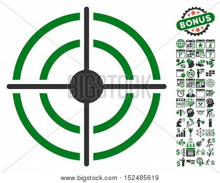 Target icon with bonus calendar and time management graphic icons. Vector illustration style is flat iconic symbols, green and gray colors, white background.