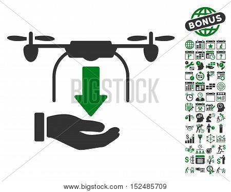 Unload Drone Hand icon with bonus calendar and time service icon set. Vector illustration style is flat iconic symbols, green and gray colors, white background.