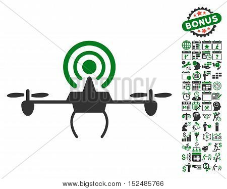 Wifi Repeater Drone icon with bonus calendar and time management images. Vector illustration style is flat iconic symbols, green and gray colors, white background.