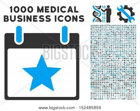 Blue And Gray Star Calendar Day vector icon with 1000 medical business pictograms. Set style is flat bicolor symbols, blue and gray colors, white background.