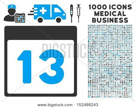 Blue And Gray Thirteenth Calendar Page vector icon with 1000 medical business pictograms. Set style is flat bicolor symbols, blue and gray colors, white background.