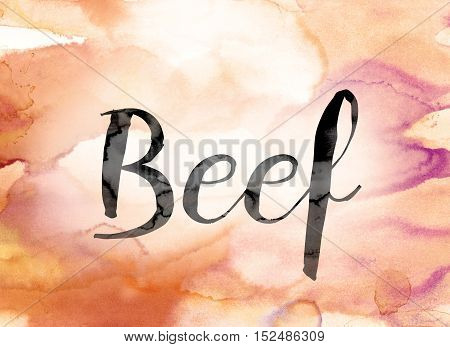 Beef Colorful Watercolor And Ink Word Art