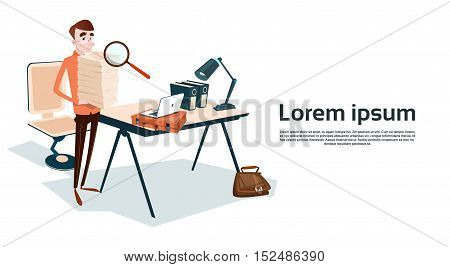 Business Man Hold Stacked Paper Document Paperwork Magnifying Glass Data Search Flat Vector Illustration