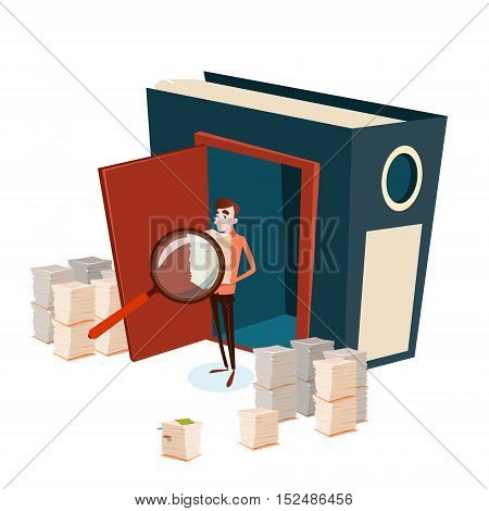 Business Man Hold Magnifying Glass Stacked Paper Document Paperwork Search Flat Vector Illustration