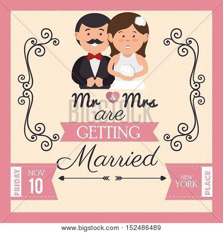 pretty wedding card with bride groom design, vector illustration  graphic