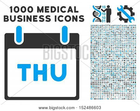 Blue And Gray Thursday Calendar Page vector icon with 1000 medical business pictograms. Set style is flat bicolor symbols, blue and gray colors, white background.