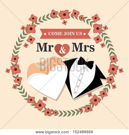 wedding card with flower and suit and bridal gown design, vector illustration  graphic