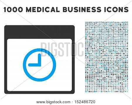 Blue And Gray Time Calendar Page vector icon with 1000 medical business pictograms. Set style is flat bicolor symbols, blue and gray colors, white background.