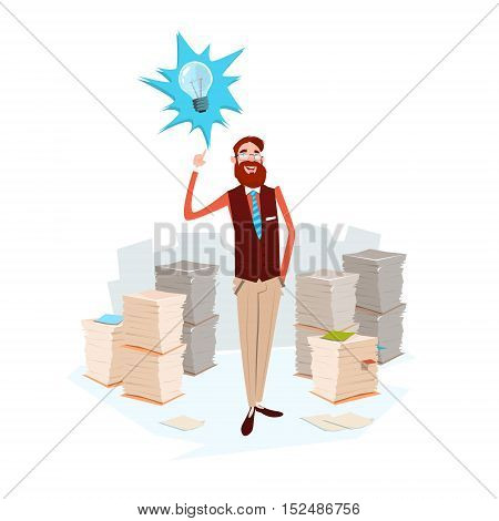 Business Man Light Bulb New Idea Stacked Paper Document Paperwork Flat Vector Illustration