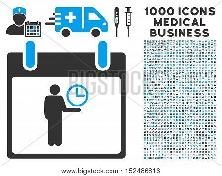 Blue And Gray Time Manager Calendar Day vector icon with 1000 medical business pictograms. Set style is flat bicolor symbols, blue and gray colors, white background.