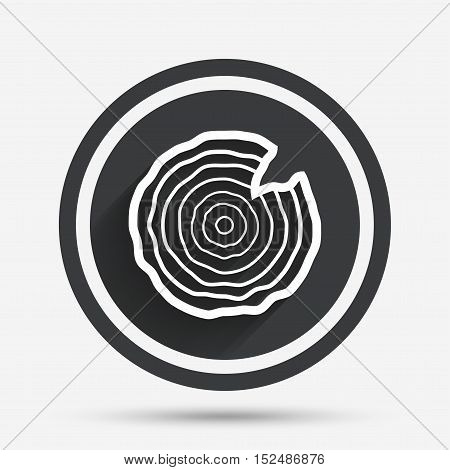 Wood sign icon. Tree growth rings. Tree trunk cross-section with nick. Circle flat button with shadow and border. Vector