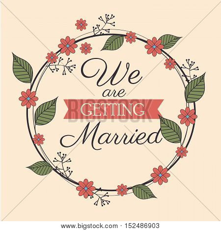 invitation wedding card romantic floral design, vector illustration  graphic