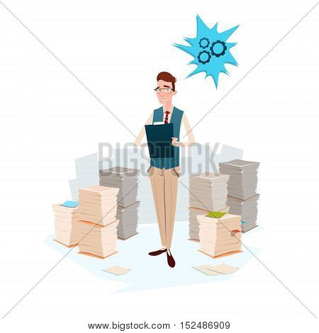 Business Man Stacked Paper Document Paperwork Flat Vector Illustration