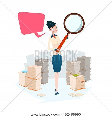 Business Woman Hold Magnifying Glass Stacked Paper Document Paperwork Search Flat Vector Illustration