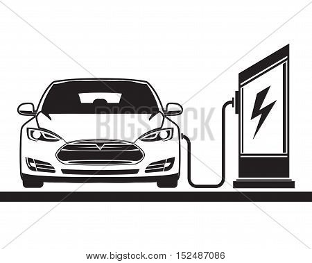 Electric vehicle and electric filling station. Vector graphics. Sign, symbol