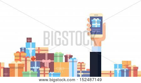Business Man Hand Hold Tablet Computer Online Shopping Stacked Present Boxes Background Flat Vector Illustration
