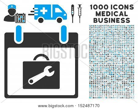Blue And Gray Toolbox Calendar Day vector icon with 1000 medical business pictograms. Set style is flat bicolor symbols, blue and gray colors, white background.