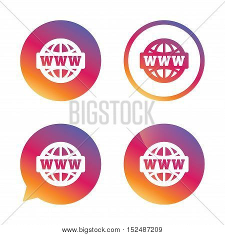 WWW sign icon. World wide web symbol. Globe. Gradient buttons with flat icon. Speech bubble sign. Vector